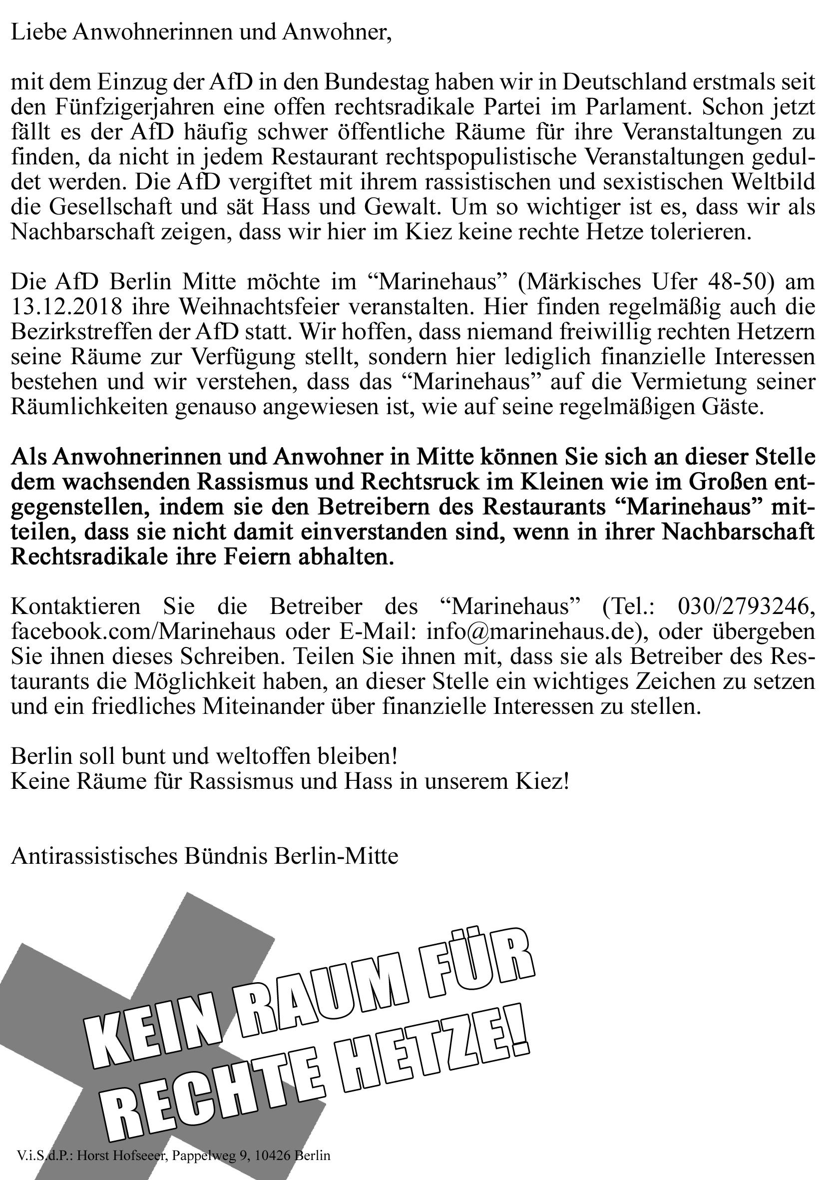 Weihnachtsfeier Berlin Mitte.Keine Afd Feier In Berlin Mitte Rassist Innen Raus Aus Dem